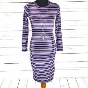 Pretty Purple Stripe LuLaRoe Debbie Dress XXS